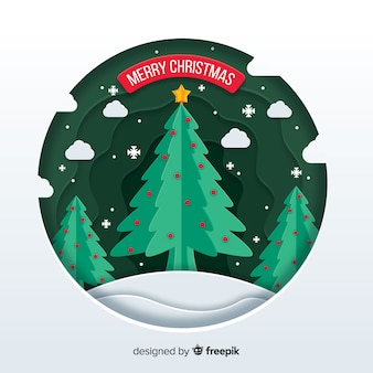Merry christmas concept in paper style