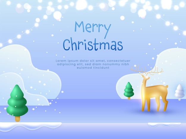 3d 황금 순록, 크리스마스 트리 및 푸른 폭설 배경에 조명 화환과 메리 크리스마스 개념.