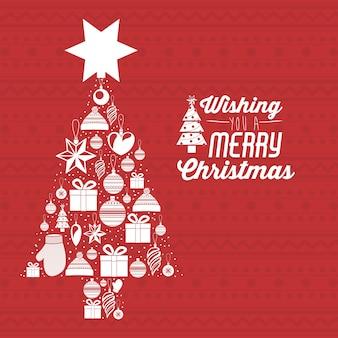 Концепция Рождества Рождества с иконками украшения