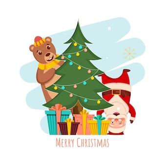 장식 크리스마스 트리, 만화 곰, 산타 클로스와 흰색 배경에 선물 상자와 함께 메리 크리스마스 개념.