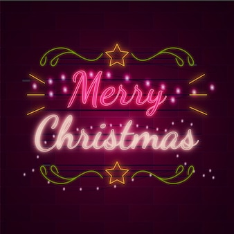 Merry christmas concept with neon design