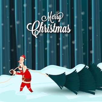 청록색 눈 덮인 자연 배경에 크리스마스 트리를 들고 산타 클로스와 함께 메리 크리스마스 개념.