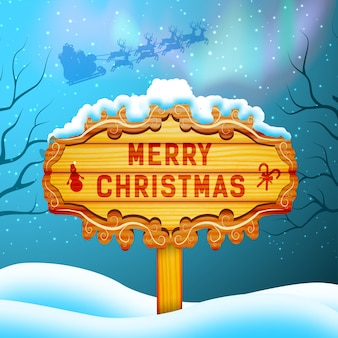 Merry christmas concept with wooden sign santa claus and northern lights flat illustration