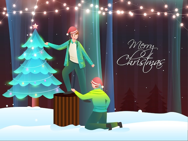 어린 소년 캐릭터와 함께 메리 크리스마스 컨셉