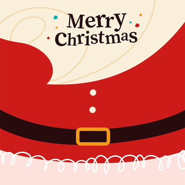 Merry christmas congratulation card with santa claus beard, belt and red costume on background. vector flat cartoon illustration. for christmas cards, banners, stickers, tags, packaging etc.