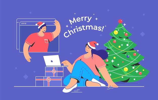ビデオ通話によるメリークリスマスおめでとうございます。クリスマスツリーの近くにラップトップで座って、ビデオ通話を介して彼女の友人と話している若い女性の概念ベクトルイラスト。オンライン休日の挨拶