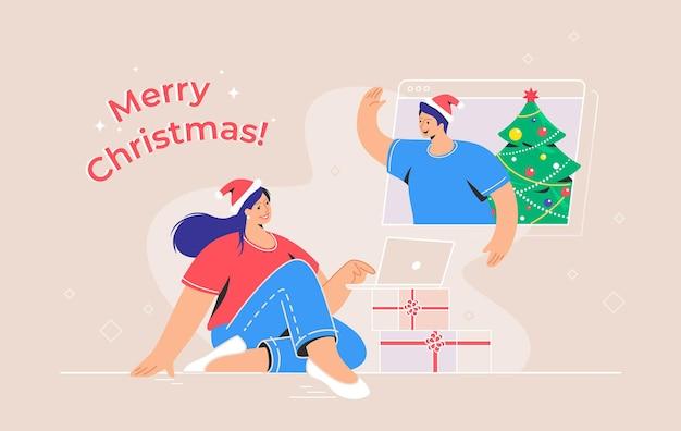 ビデオ通話によるメリークリスマスおめでとうございます。クリスマスプレゼントとラップトップで座って、ビデオ通話を介して彼女の友人と話している若い女性の概念ベクトルイラスト。オンラインの挨拶とお祝い