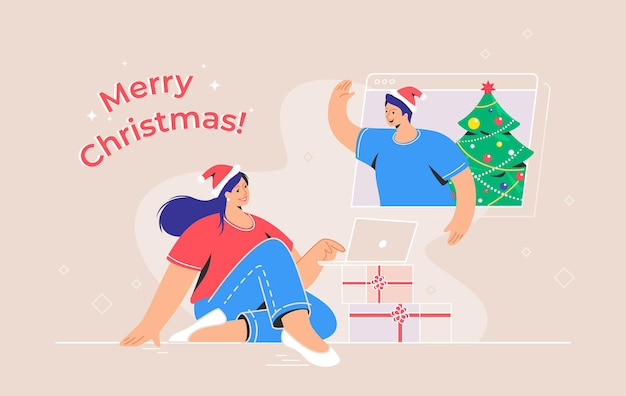 Merry christmas congratulation via video call. concept vector illustration of young woman sitting with laptop with xmas gifts and talking to her friend via video call. online greetings and celebration