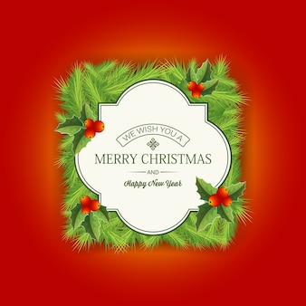Merry christmas coniferous card with greetings on red
