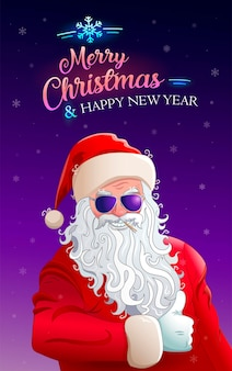 Merry christmas cool santa claus in sunglasses greeting card