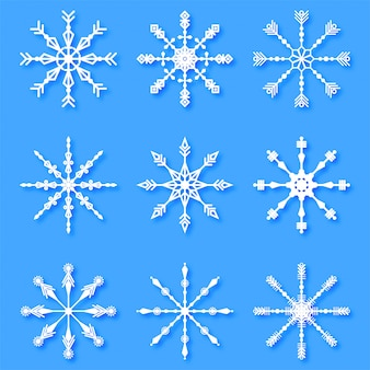 Merry christmas creative decorative snowflakes set