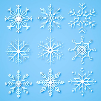 Merry christmas creative snowflakes set background