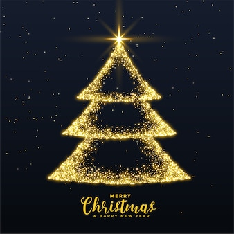Merry christmas creative tree with golden sparkles background