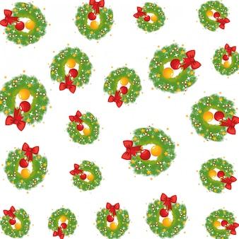 ボールのパターンとメリークリスマスの冠