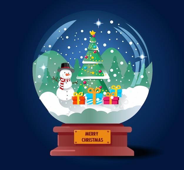 С рождеством христовым хрустальный шар с елкой и снеговиком