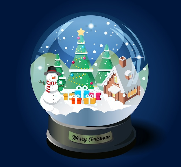 Merry christmas crystal ball with christmas tree, house and snowman isometric  illustration.