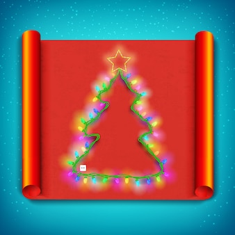 Merry christmas curved paper template with light garland in shape of tree