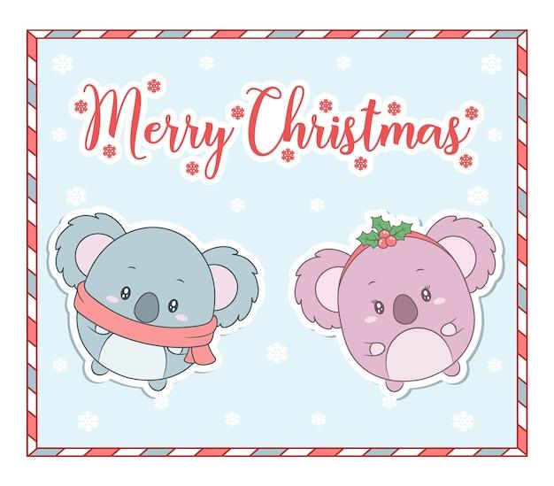 キャンディーフレームとメリークリスマスかわいい動物の描画カード
