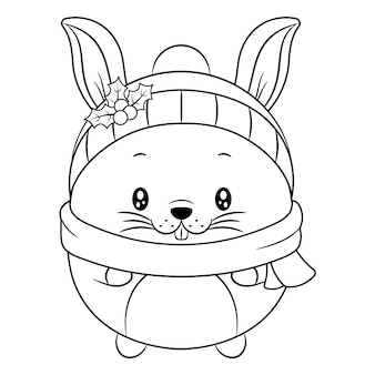 Merry christmas cute animal drawing sketch for coloring with berry