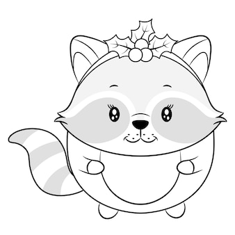 Merry christmas cute animal drawing sketch for coloring