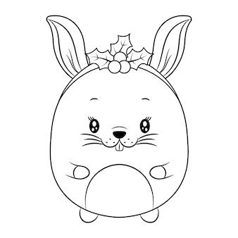 ベリーで着色するためのメリークリスマスかわいい動物の描画スケッチ