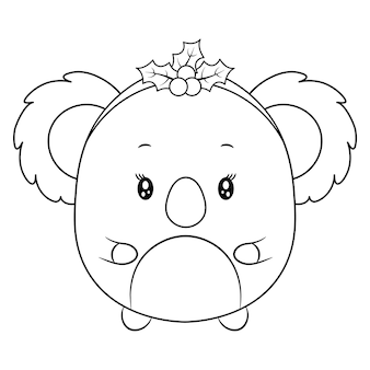 채색을위한 메리 크리스마스 귀여운 동물 그리기 스케치
