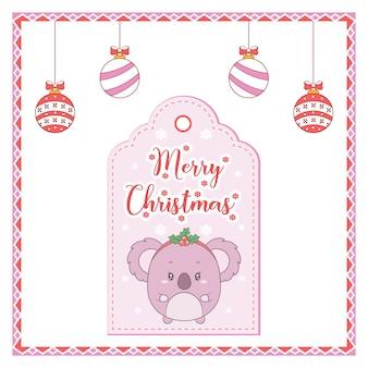 メリークリスマスかわいい動物の描画タグカードと着色の装飾品とキャンディーフレーム