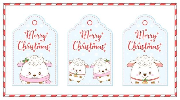 레드 베리 그림 카드와 함께 메리 크리스마스 귀여운 동물 태그