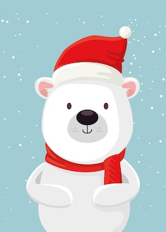 Merry christmas cute bear character