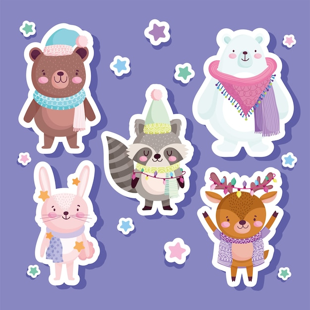 Merry christmas, cute bear rabbit reindeet raccoon animal stars, stickers illustration