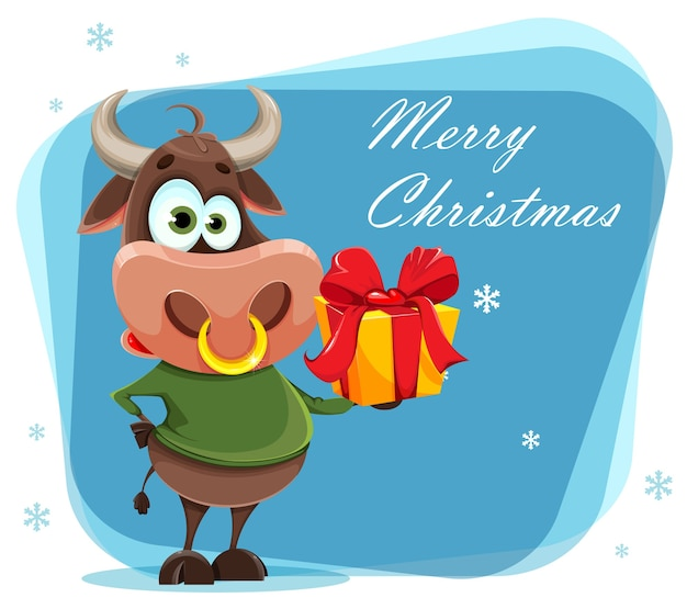 Merry christmas. cute bull, the symbol of chinese new year