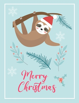 サンタ帽子のナマケモノとメリークリスマスかわいいカード。