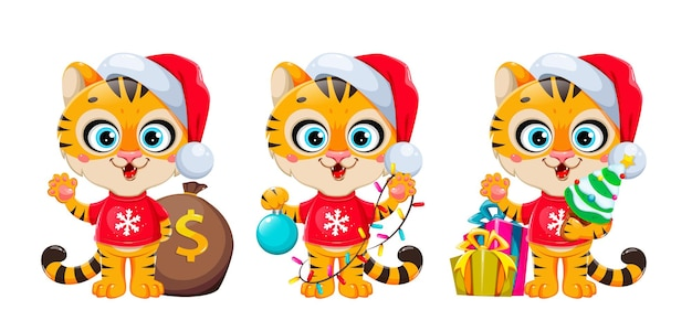 Счастливого рождества. милый мультипликационный персонаж тигра в шляпе санты, набор из трех поз. фондовый вектор иллюстрация на белом фоне