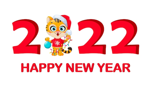 Merry christmas. cute cartoon character tiger in santa hat standing in big 2022 number. stock vector illustration