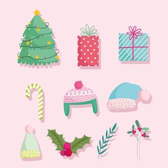 메리 크리스마스, 귀여운 만화 트리 선물 사탕 지팡이 따뜻한 모자와 홀리 베리 아이콘 그림