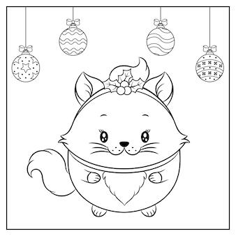 冬のスケッチのための赤いベリーの帽子で描くメリークリスマスかわいい猫