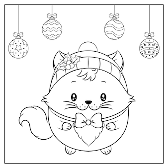Merry christmas cute cat drawing with red berry hat for winter season sketch
