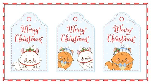 겨울 시즌에 레드 베리 카드 태그로 그리는 메리 크리스마스 귀여운 고양이