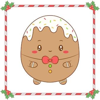 かわいい赤い弓で描くメリークリスマスかわいい着色生姜クッキー