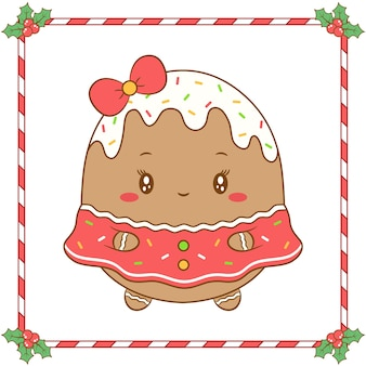 かわいいドレスと赤い弓で描くメリークリスマスかわいい着色ジンジャークッキーの女の子