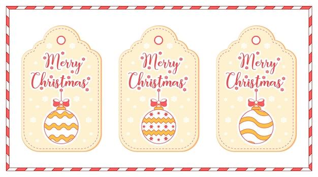 메리 크리스마스 귀여운 색칠 장신구는 겨울 시즌에 눈이있는 그림 카드 태그