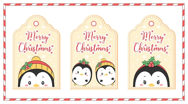 메리 크리스마스 귀여운 색칠 펭귄 태그 겨울 시즌에 눈으로 그림 카드