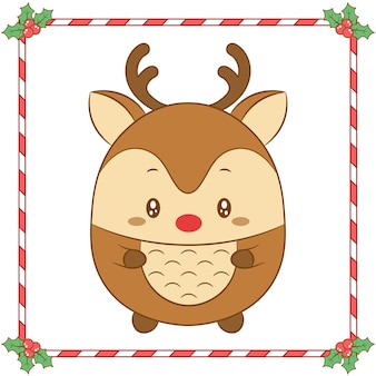 Merry christmas cute coloring reindeer drawing with red nose