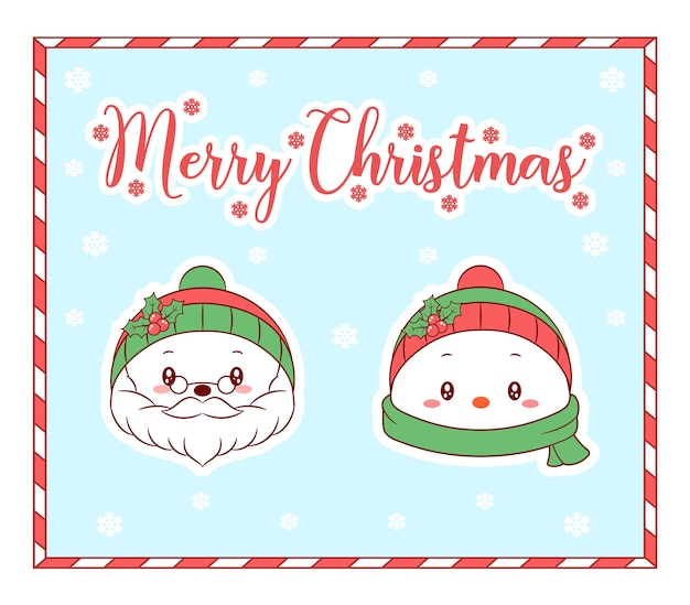メリークリスマスかわいい着色サンタクロースと冬のスカーフと雪でカードを描く雪だるま
