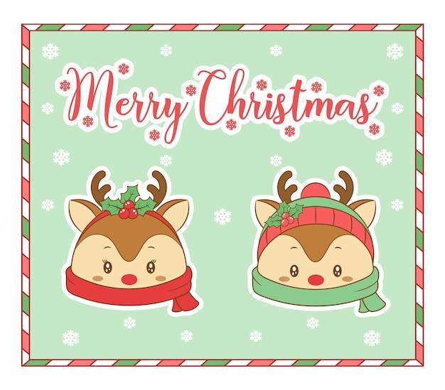 冬のメリークリスマスかわいい着色サンタトナカイのスカーフと雪のカード