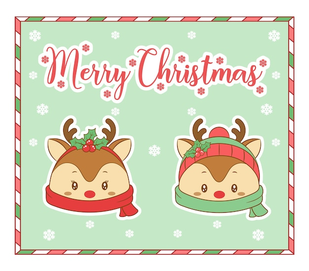 Merry christmas cute coloring santa reindeer drawing card with scarf and snow for winter season