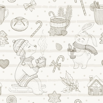 Merry christmas cute dessert seamless pattern. doodle animal. vintage winter sketch.