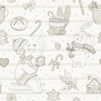 메리 크리스마스 귀여운 디저트 완벽 한 패턴입니다. 낙서 동물. 빈티지 겨울 스케치.