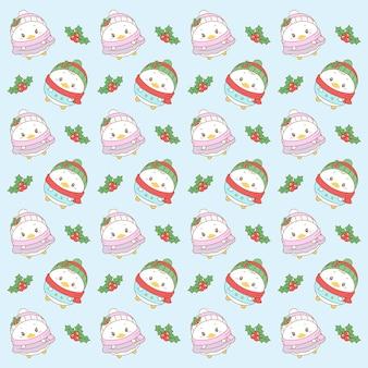 メリークリスマスかわいいドナルドダックとデイジーダックのギフトラップのパターン背景を描く