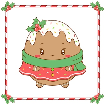 Merry christmas cute ginger cookie with red berry and green scarf for winter season